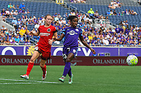 Orlando, FL - Sunday June 26, 2016: Emily Sonnett, Jasmyne Spencer  during a regular season National Women's Soccer League (NWSL) match between the Orlando Pride and the Portland Thorns FC at Camping World Stadium.
