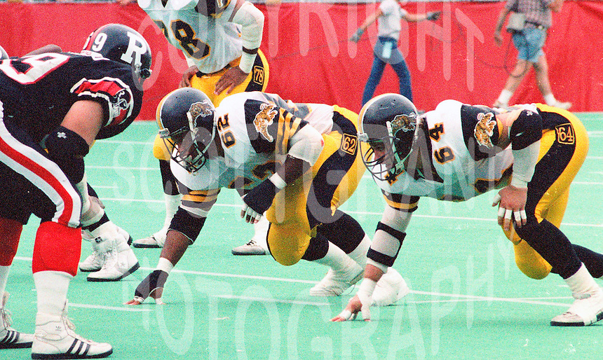Ronnie Glanton Tim Lorenz Hamitlon Tiger Cats 1989. Photo John Bradley
