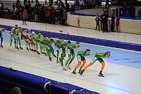 SCHAATSEN: HEERENVEEN: IJsstadion Thialf, 02-01-2013, Seizoen 2012-2013, KPN NK Mass-Start, Heren, BAM-treintje van 7 rijders op kop van het peloton, Arjan Stroetinga in 6e positie, ©foto Martin de Jong