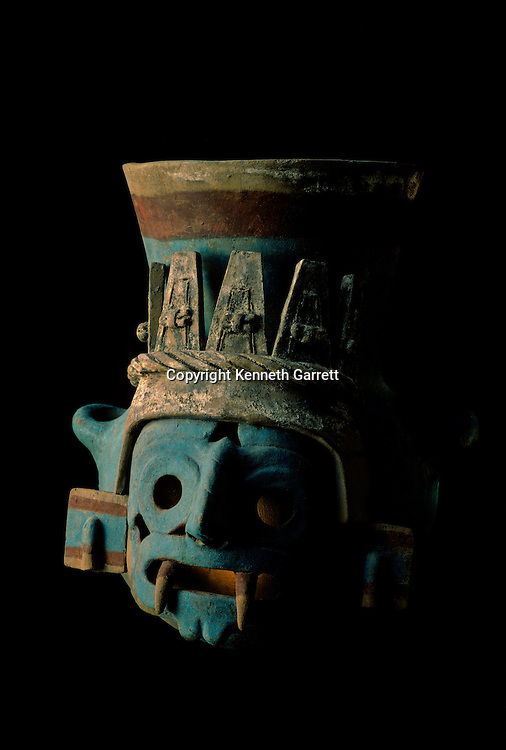 Tenochtitlan, Templo Mayor, Aztec, Mexico, Mexico City, Great Temple of the Aztecs, Tlaloc effigy, ceramic vessel, painted after firing .