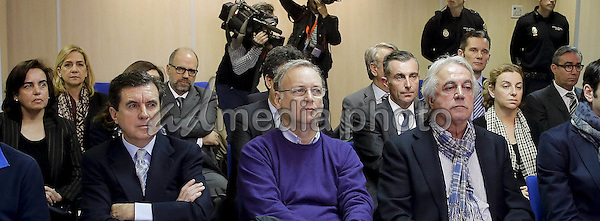 11-01-2016 Palma Princess Cristina and husband Inaki Urdangarin inside the courtroom at the Balearic School of Public Administration for summary proceedings in Palma de Mallorca, Spain.<br /> Princess Cristina of Spain, sister of King Felipe VI of Spain, faces a tax fraud trial over alleged links to business dealings of her husband, Inaki Urdangarin. Princess Cristina co-owned with her husband a company called Aizoon alleged to be one of the companies used by the non-profit foundation named 'Instituto NOOS' headed by Inaki Urdangarin to misuse 5.6 million euro of public funds which were allocated to organise sports and tourism events. Photo Credit: PPE/face to face/AdMedia