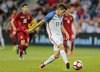 Kansas City, KS. - May 28, 2016: The U.S. Men's national team take a 4-0 lead over Bolivia in second half action from a goal by seventeen year old Christian Pulisic during an international friendly tuneup match prior to the opening of the 2016 Copa America Centenario at Children's Mercy Park.