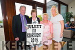 Padraig Culloty,Margaret Culloty,Josephine Buckley and Michelle Buckley proudly supporting Juilette Culloty,who is sponsored by John Buckley Plant Hire before the start of the Kerry Rose Selection on Saturday night at Ballyroe Heights Hotel