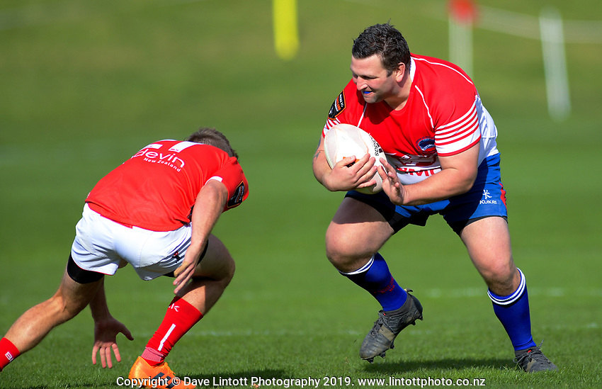 Scott Cameron in action during the 2019 Heartland Championship  rugby match between Horowhenua Kapiti and Poverty Bay at Waikanae Domain in Waikanae, New Zealand on Saturday, 28 September 2019. Photo: Dave Lintott / lintottphoto.co.nz