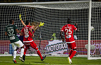 BOGOTA - COLOMBIA, 14-01-2019: Cristian Alvarez jugador del America de Cali hace gol al Atletico Nacional, durante partido entre Atletico Nacional y America de Cali, por el Torneo Fox Sports 2019, jugado en el estadio Nemesio Camacho El Campin de la ciudad de Bogotá. / Cristian Alvarez player of America de Cali makes goal to Atletico Nacional during a match between Atletico Nacional and America de Cali, for the Fox Sports Tournament 2019, played at the Nemesio Camacho El Campin stadium in the city of Bogota. Photo: VizzorImage / Diego Cuevas / Cont.