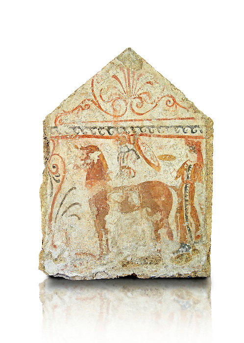 Lucanian fresco tomb painting of the deceased on a mythical horse being offered food for the journey to the next world . Paestrum, Andriuolo. Tomb 84.  (350-340 )