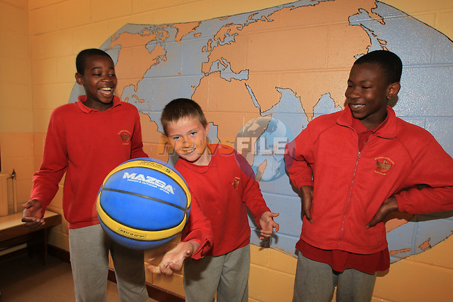 Lateef adenowale Joseph mceneaney Michael bello.Move to Health Campaign by HSE. Promoting physical activity in schools..Picture Fran Caffrey www.newsfile.ie..
