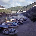 Boscastle Harbour looking inland, Cornwall, UK