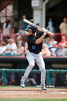 Akron RubberDucks second baseman Tyler Krieger (15) at bat during a game against the Erie SeaWolves on August 27, 2017 at UPMC Park in Erie, Pennsylvania.  Akron defeated Erie 6-4.  (Mike Janes/Four Seam Images)