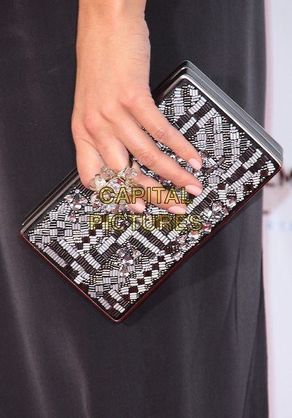 "MARIA MENOUNOS' BAG .TCM Classic Film Festival - ""A Star Is Born"" - Arrivals held at Grauman's Chinese Theatre, Hollywood, California, USA, 22nd April 2010..detail clutch bag black and white beaded clear ring stones  .CAP/ADM/TC.©T. Conrad/AdMedia/Capital Pictures."