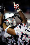 18 November 2007: New England Patriots linebacker Pierre Woods (58) gets hyped with teammates prior to a game against the Buffalo Bills at Ralph Wilson Stadium in Orchard Park, NY. The Patriots defeated the Bills 56-10 in their second meeting of the season...Mandatory Photo Credit: Ed Wolfstein Photo