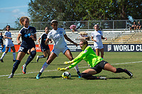 Sanford, FL - Saturday Oct. 14, 2017:  The Pride goalie attempts to grab a crossing attempt during a US Soccer Girls' Development Academy match between Orlando Pride and NC Courage at Seminole Soccer Complex. The Courage defeated the Pride 3-1.