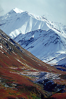 View of snowcapped mountains and colorful tundra from viewing platform at Eielson Visitor Center, Denali National Park, Alaska