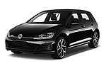 2017 Volkswagen Golf GTD 5 Door Hatchback angular front stock photos of front three quarter view