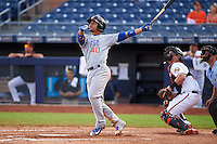 Mesa Solar Sox catcher Willson Contreras (40) hits a home run during an Arizona Fall League game against the Peoria Javelinas on October 21, 2015 at Peoria Stadium in Peoria, Arizona.  Peoria defeated Mesa 5-3.  (Mike Janes/Four Seam Images)