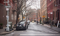 The intersection of West 10th Street and Waverly Place in historic Greenwich Village in New York on Wednesday, January 30, 2013. (© Richard B. Levine)