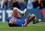 Pedro of Chelsea rolls around on the ground during the premier league match at Stamford Bridge Stadium, London. Picture date 17th September 2017. Picture credit should read: David Klein/Sportimage