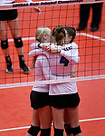 November 22, 2019; Rapid City, SD, USA; Sioux Falls Christian players hug before the start of their semi-final game against Miller at the 2019 South Dakota State Volleyball Championships at the Rushmore Plaza Civic Center in Rapid City, S.D. (Richard Carlson/Inertia)