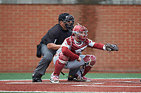 Arkansas Razorbacks catcher Grant Koch (33) frames a pitch as home plate umpire Brent Cardwell looks on during the game against the Charlotte 49ers at Hayes Stadium on March 21, 2018 in Charlotte, North Carolina.  The 49ers defeated the Razorbacks 6-3.  (Brian Westerholt/Four Seam Images)
