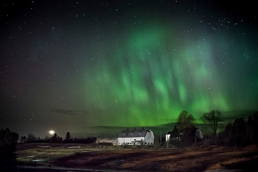 Northern Lights, Aurora Borealis, dance over a the Michigan State University North Farm research station in Chatham, Michigan on Michigan's Upper Peninsula.