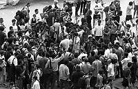 Genova 20 Luglio 2001.G8.Stadio Carlini,Disobbedienti  Luca Casarini accerchiato da giornalisti