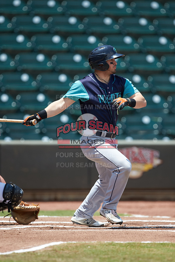 Tyler Friis (8) of the Lynchburg Hillcats follows through on his swing against the Winston-Salem Rayados at BB&T Ballpark on June 23, 2019 in Winston-Salem, North Carolina. The Hillcats defeated the Rayados 12-9 in 11 innings. (Brian Westerholt/Four Seam Images)