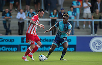 Chris Eagles of Accrington Stanley takes on Anthony Stewart of Wycombe Wanderers during the Sky Bet League 2 match between Wycombe Wanderers and Accrington Stanley at Adams Park, High Wycombe, England on 16 August 2016. Photo by Andy Rowland.