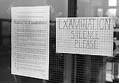 Exam sign, Whitworth Comprehensive School, Whitworth, Lancashire.  1970.
