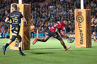 1st August 2020, Hamilton, New Zealand;  Crusaders winger Sevu Reece scores a controversial try. Chiefs versus Crusaders, Super Rugby Aotearoa. FMG Stadium Waikato, Hamilton, New Zealand.