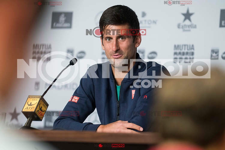 Serbian Novak Djokovic during Mutua Madrid Open Tennis 2017 at Caja Magica in Madrid, May 10, 2017. Spain.<br /> (ALTERPHOTOS/BorjaB.Hojas) /NortePhoto.com **NortePhoto.com