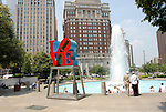 LOVE statue at JFK Plaza..Philadelphia, Pennsylvania, PA USA.  Photo copyright Lee Foster, 510-549-2202, lee@fostertravel.com, www.fostertravel.com.  Photo 330-30319
