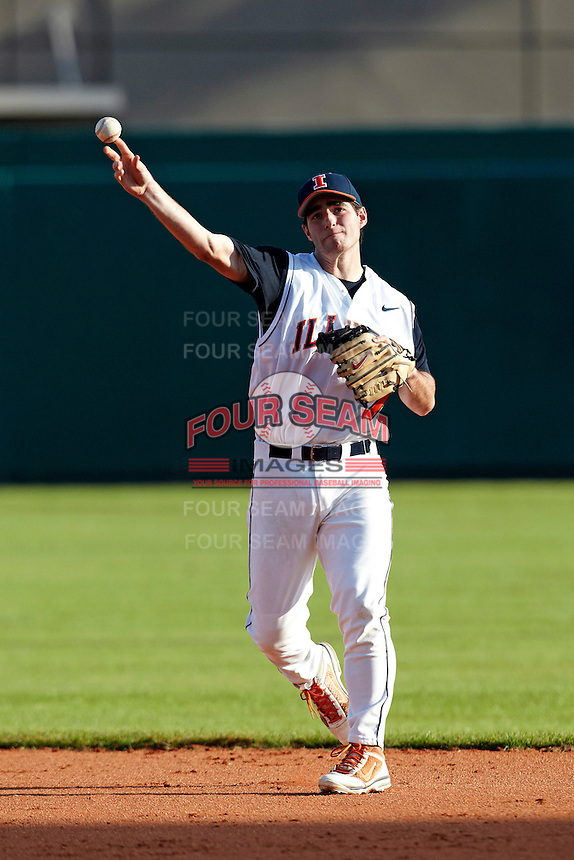 Illinois Fighting Illini second baseman Reid Roper #7 during a game against the Louisville Cardinals at the Big Ten/Big East Challenge at Al Lang Stadium on February 18, 2012 in St. Petersburg, Florida.  (Mike Janes/Four Seam Images)