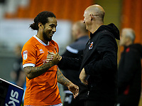 Blackpool manager Simon Grayson congratulates Sean Scannell as he leaves the field<br /> <br /> Photographer Alex Dodd/CameraSport<br /> <br /> EFL Leasing.com Trophy - Northern Section - Group G - Blackpool v Morecambe - Tuesday 3rd September 2019 - Bloomfield Road - Blackpool<br />  <br /> World Copyright © 2018 CameraSport. All rights reserved. 43 Linden Ave. Countesthorpe. Leicester. England. LE8 5PG - Tel: +44 (0) 116 277 4147 - admin@camerasport.com - www.camerasport.com