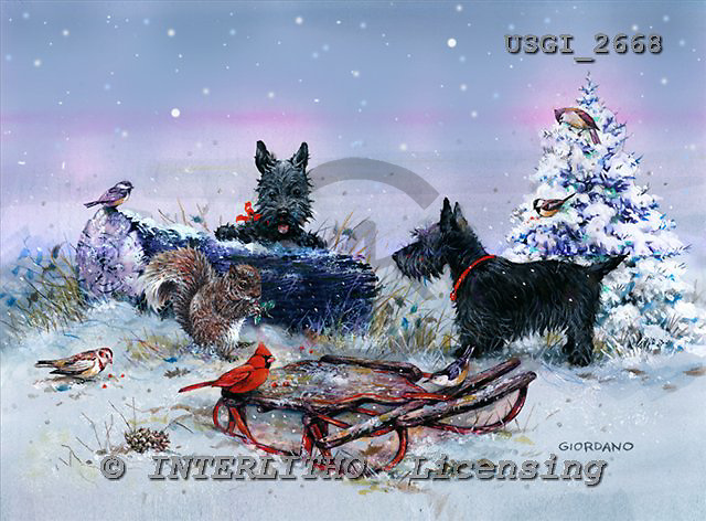 GIORDANO, CHRISTMAS ANIMALS, WEIHNACHTEN TIERE, NAVIDAD ANIMALES, paintings+++++,USGI2668,#XA#