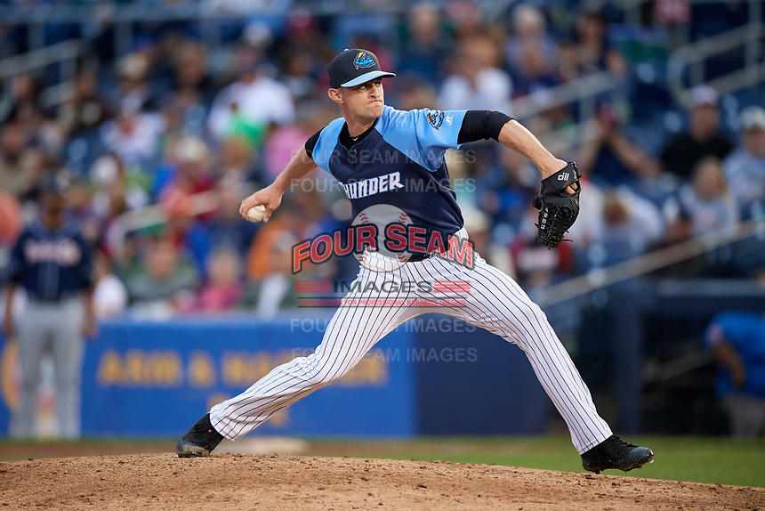 Trenton Thunder relief pitcher Matt Frawley (10) delivers a pitch during a game against the New Hampshire Fisher Cats on August 19, 2018 at ARM & HAMMER Park in Trenton, New Jersey.  New Hampshire defeated Trenton 12-1.  (Mike Janes/Four Seam Images)