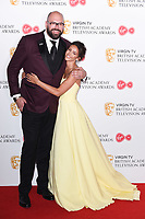Tom Davis and Michelle Keegan in the winners room for the BAFTA TV Awards 2018 at the Royal Festival Hall, London, UK. <br /> 13 May  2018<br /> Picture: Steve Vas/Featureflash/SilverHub 0208 004 5359 sales@silverhubmedia.com