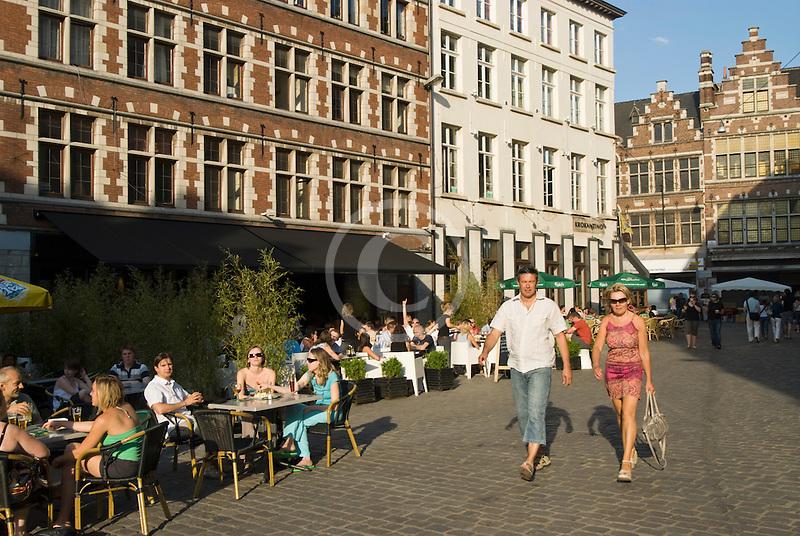 Belgium, Ghent, Pedestrians, Graslei