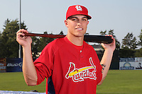 Batavia Muckdogs outfielder Pat Piserta (5) poses for a photo in a Cardinals uniform before a game vs. the State College Spikes at Dwyer Stadium in Batavia, New York July 17, 2010.   Batavia defeated State College 12-11 in 11 innings.  Photo By Mike Janes/Four Seam Images