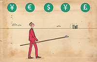 Businessman with pole and hook choosing currency
