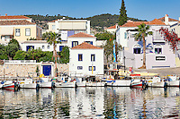 Boats in the old port of Spetses island, Greece