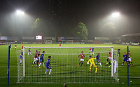 James Wilson of Man Utd scores his goal in the heavy rain during the U23 Premier League 2 match between Chelsea and Manchester United at the EBB Stadium, Aldershot, England on 18 September 2017. Photo by Andy Rowland.