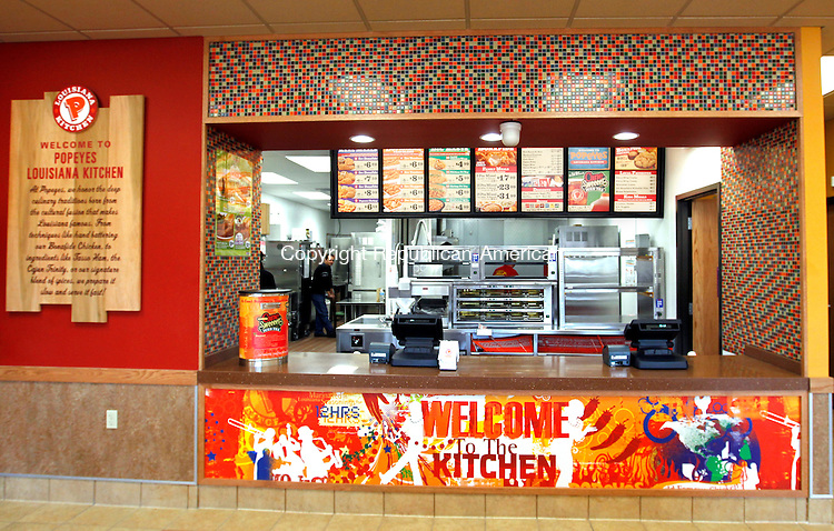 Waterbury, CT-09 December 2011-120911CM02- The kitchen in Popeye's Louisiana Kitchen will see it's first customers as the restaurant opens today in the Mattatuck Plaza on Wolcott St. in Waterbury.  The newly opened fast food chain will replace the former  Hollywood Video store.  Christopher Massa Republican-American