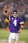 Minnesota Vikings quarterback Brett Favre (4) celebrates a touchdown pass during an NFL football game against the Green Bay Packers at the Hubert H. Humphrey Metrodome on October 5, 2009 in Minneapolis, Minnesota. The Vikings won 30-23. (AP Photo/David Stluka)