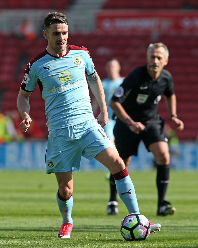 Burnley's Robbie Brady in action<br /> <br /> Photographer David Shipman/CameraSport<br /> <br /> The Premier League - Middlesbrough v Burnley - Saturday 8th April 2017 - Riverside Stadium - Middlesbrough<br /> <br /> World Copyright &copy; 2017 CameraSport. All rights reserved. 43 Linden Ave. Countesthorpe. Leicester. England. LE8 5PG - Tel: +44 (0) 116 277 4147 - admin@camerasport.com - www.camerasport.com