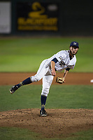 Helena Brewers relief pitcher Tyler Tungate (22) follows through on his delivery during a Pioneer League game against the Orem Owlz at Kindrick Legion Field on August 21, 2018 in Helena, Montana. The Orem Owlz defeated the Helena Brewers by a score of 6-0. (Zachary Lucy/Four Seam Images)