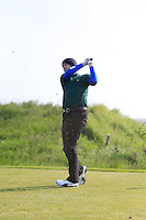 Connor McCaughey (Dungannon) on the 9th tee during Round 1 of the Irish Amateur Close Championship at Seapoint Golf Club on Saturday 7th June 2014.<br /> Picture:  Thos Caffrey / www.golffile.ie