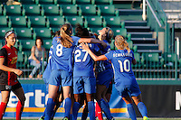 Rochester, NY - Friday June 24, 2016: Boston Breakers celebration during a regular season National Women's Soccer League (NWSL) match between the Western New York Flash and the Boston Breakers at Rochester Rhinos Stadium.