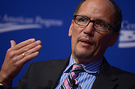 October 24, 2013  (Washington, DC)  Tom Perez, U.S. Secretary of Labor, speaks during the 10th anniversary policy conference of the Center for American Progress held at the St. Regis hotel in Washington, D.C.  (Photo by Don Baxter/Media Images International)