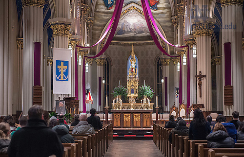Mar. 2, 2015; A prayer service was held in the Sacred Heart Basilica in honor of the President Emeritus Rev. Theodore M. Hesburgh, C.S.C.. (Photo by Barbara Johnston/University Photographer)