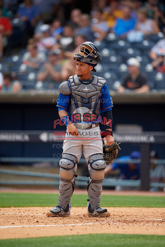 Durham Bulls catcher Michael Perez (7) during an International League game against the Toledo Mud Hens on July 16, 2019 at Fifth Third Field in Toledo, Ohio.  Durham defeated Toledo 7-1.  (Mike Janes/Four Seam Images)